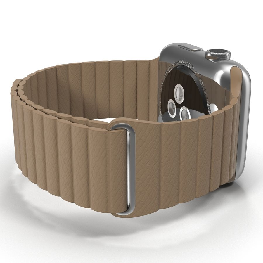 Apple Watch Brown Leather Magnetic Closure 2 3D 모델 royalty-free 3d model - Preview no. 12
