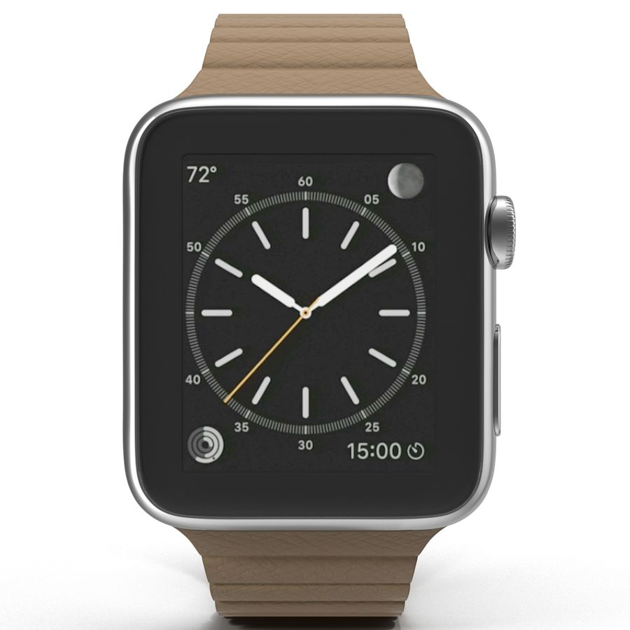 Apple Watch Brown Leather Magnetic Closure 2 3D 모델 royalty-free 3d model - Preview no. 3