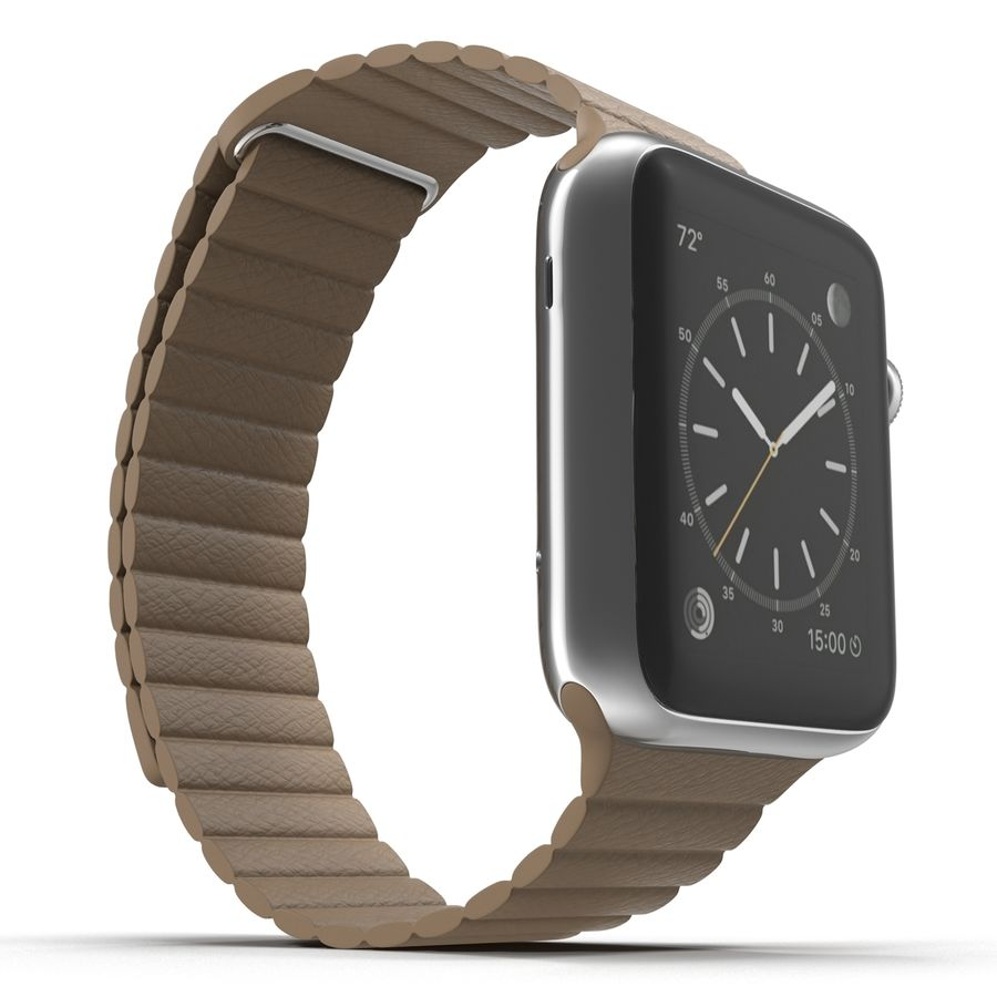 Apple Watch Brown Leather Magnetic Closure 2 3D 모델 royalty-free 3d model - Preview no. 8