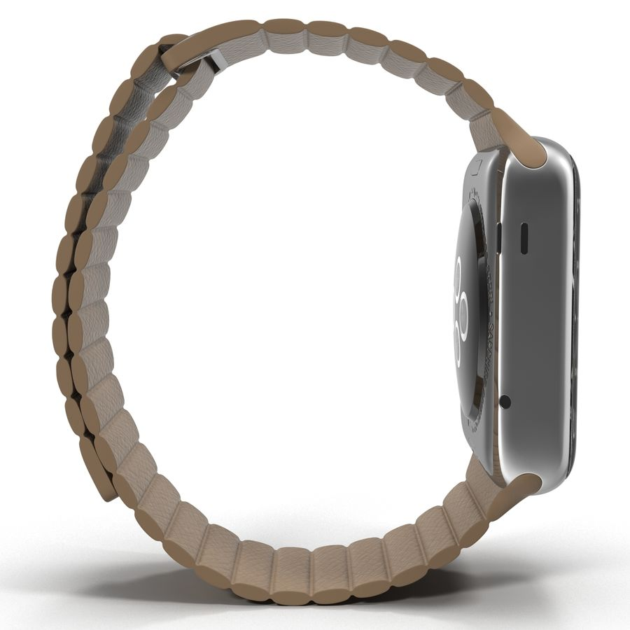 Apple Watch Brown Leather Magnetic Closure 2 3D 모델 royalty-free 3d model - Preview no. 7