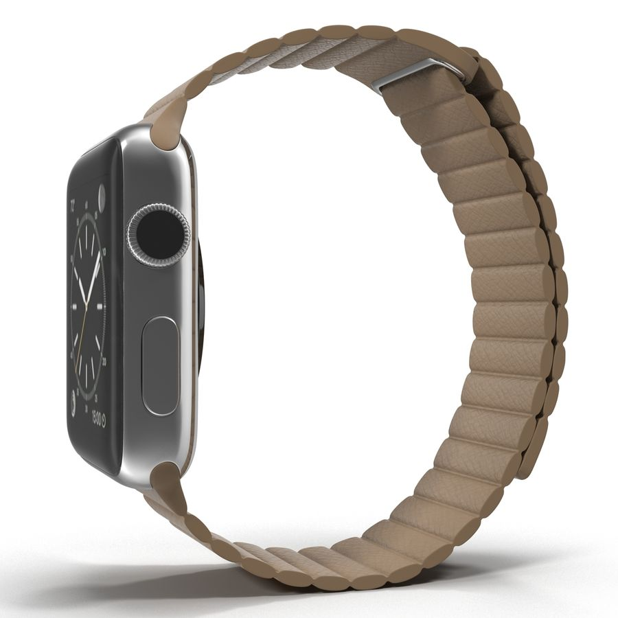Apple Watch Brown Leather Magnetic Closure 2 3D 모델 royalty-free 3d model - Preview no. 4