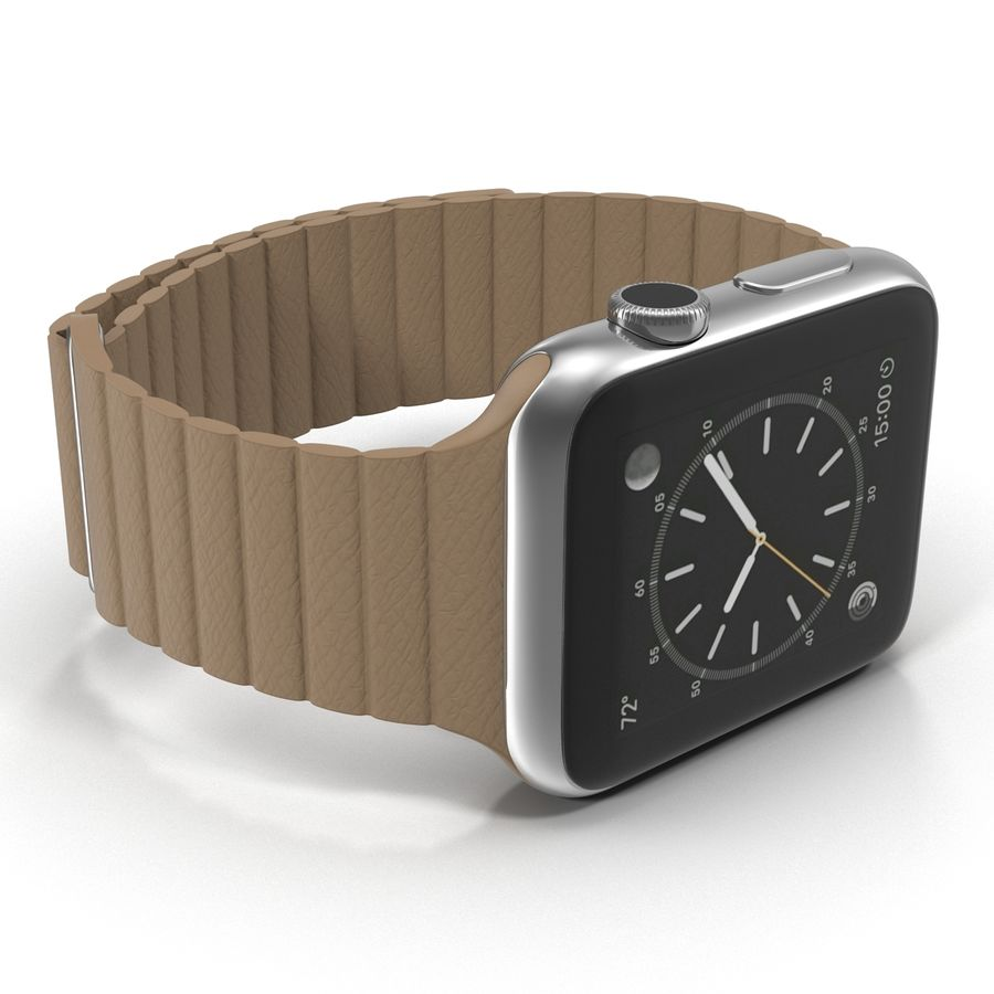 Apple Watch Brown Leather Magnetic Closure 2 3D 모델 royalty-free 3d model - Preview no. 13