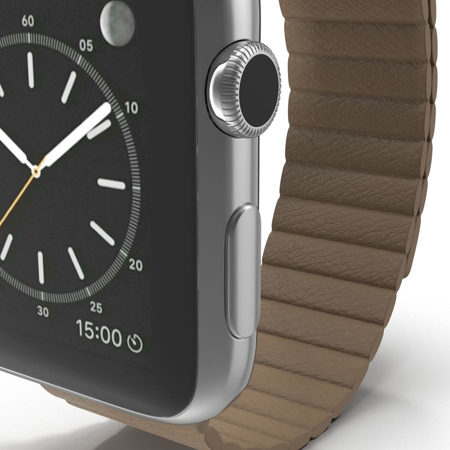 Apple Watch Brown Leather Magnetic Closure 2 3D 모델 royalty-free 3d model - Preview no. 14