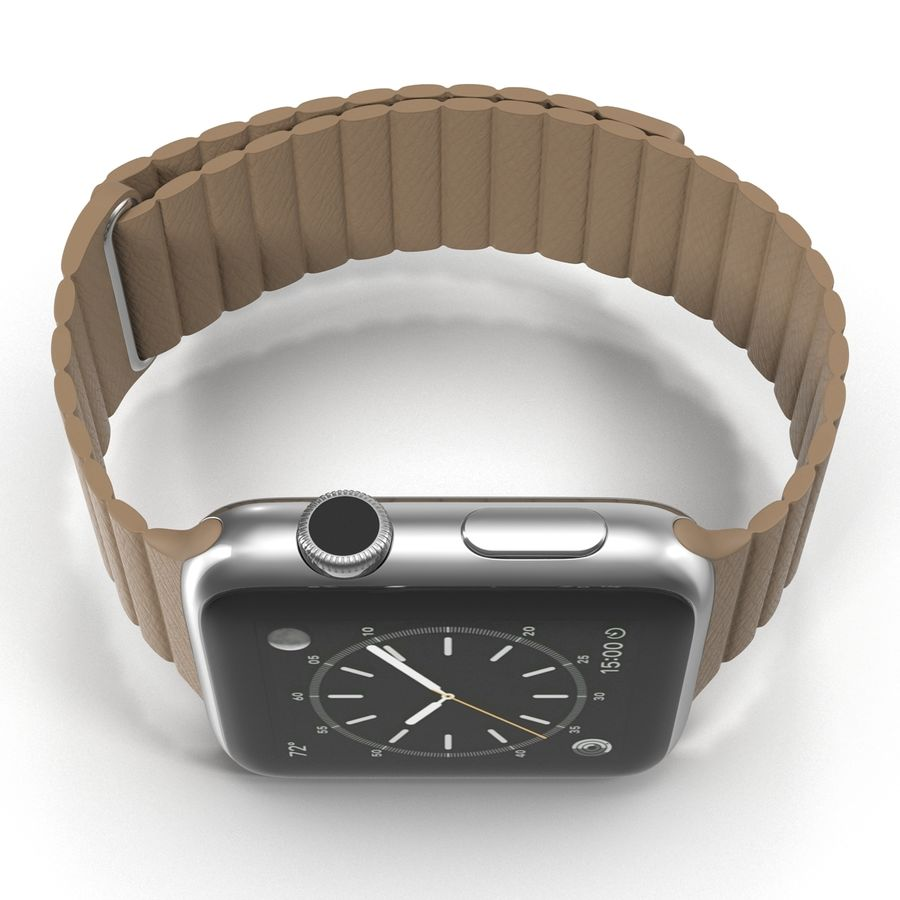 Apple Watch Brown Leather Magnetic Closure 2 3D 모델 royalty-free 3d model - Preview no. 10