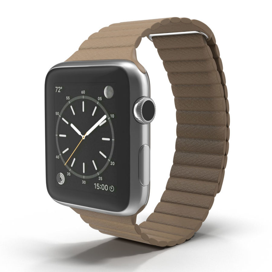 Apple Watch Brown Leather Magnetic Closure 2 3D 모델 royalty-free 3d model - Preview no. 2