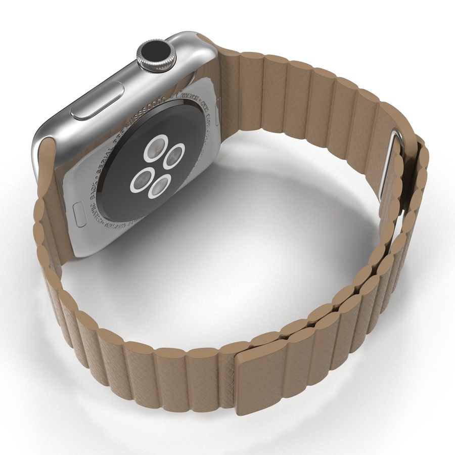 Apple Watch Brown Leather Magnetic Closure 2 3D 모델 royalty-free 3d model - Preview no. 11