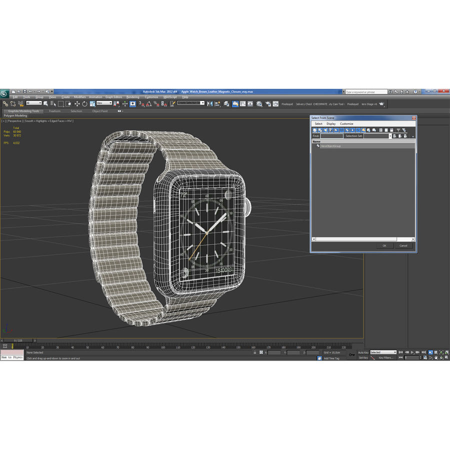 Apple Watch Blue Leather Magnetic Closure 2 3D 모델 royalty-free 3d model - Preview no. 25