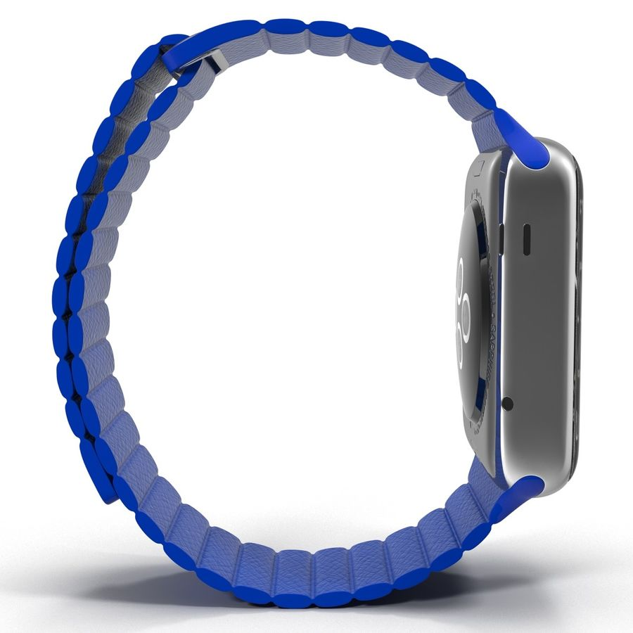 Apple Watch Blue Leather Magnetic Closure 2 3D 모델 royalty-free 3d model - Preview no. 7