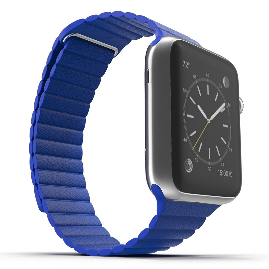 Apple Watch Blue Leather Magnetic Closure 2 3D 모델 royalty-free 3d model - Preview no. 8
