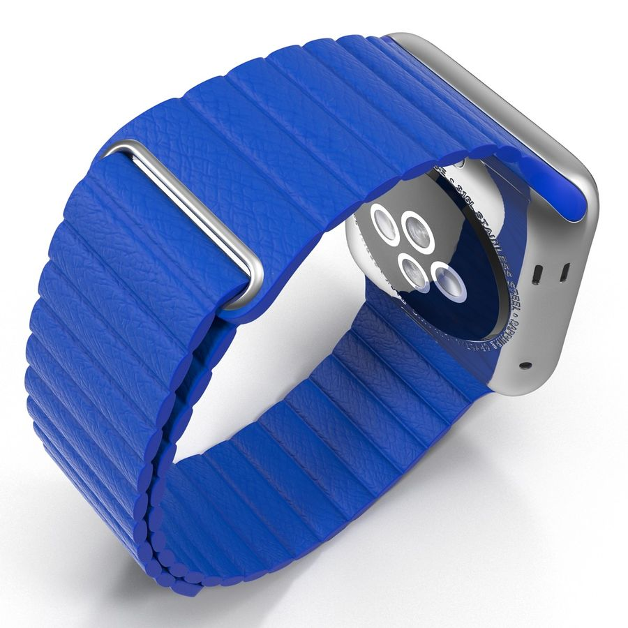 Apple Watch Blue Leather Magnetic Closure 2 3D 모델 royalty-free 3d model - Preview no. 9
