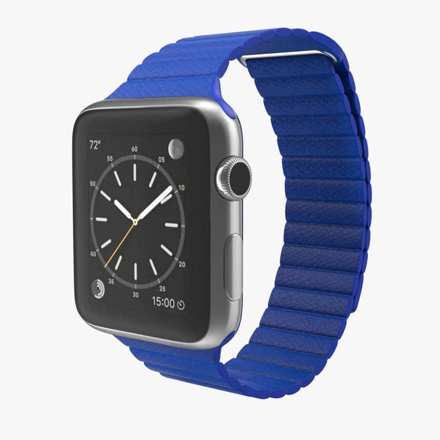 Apple Watch Blue Leather Magnetic Closure 2 3D 모델 royalty-free 3d model - Preview no. 1