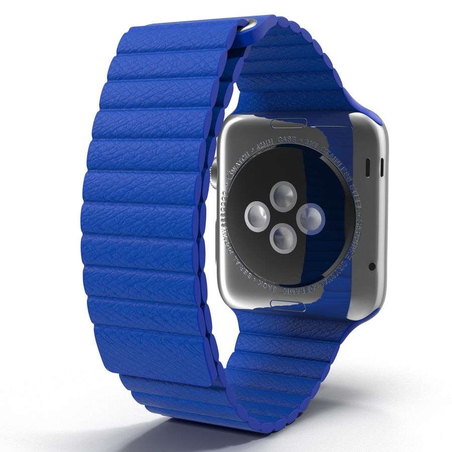 Apple Watch Blue Leather Magnetic Closure 2 3D 모델 royalty-free 3d model - Preview no. 6