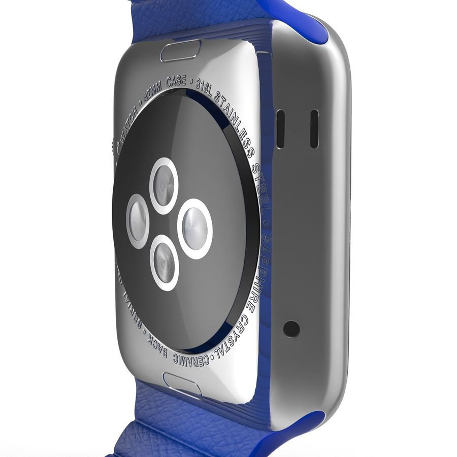Apple Watch Blue Leather Magnetic Closure 2 3D 모델 royalty-free 3d model - Preview no. 16