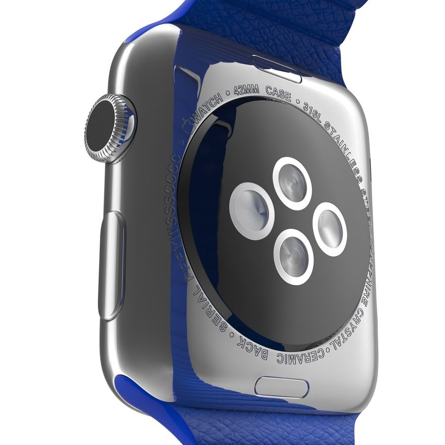 Apple Watch Blue Leather Magnetic Closure 2 3D 모델 royalty-free 3d model - Preview no. 15