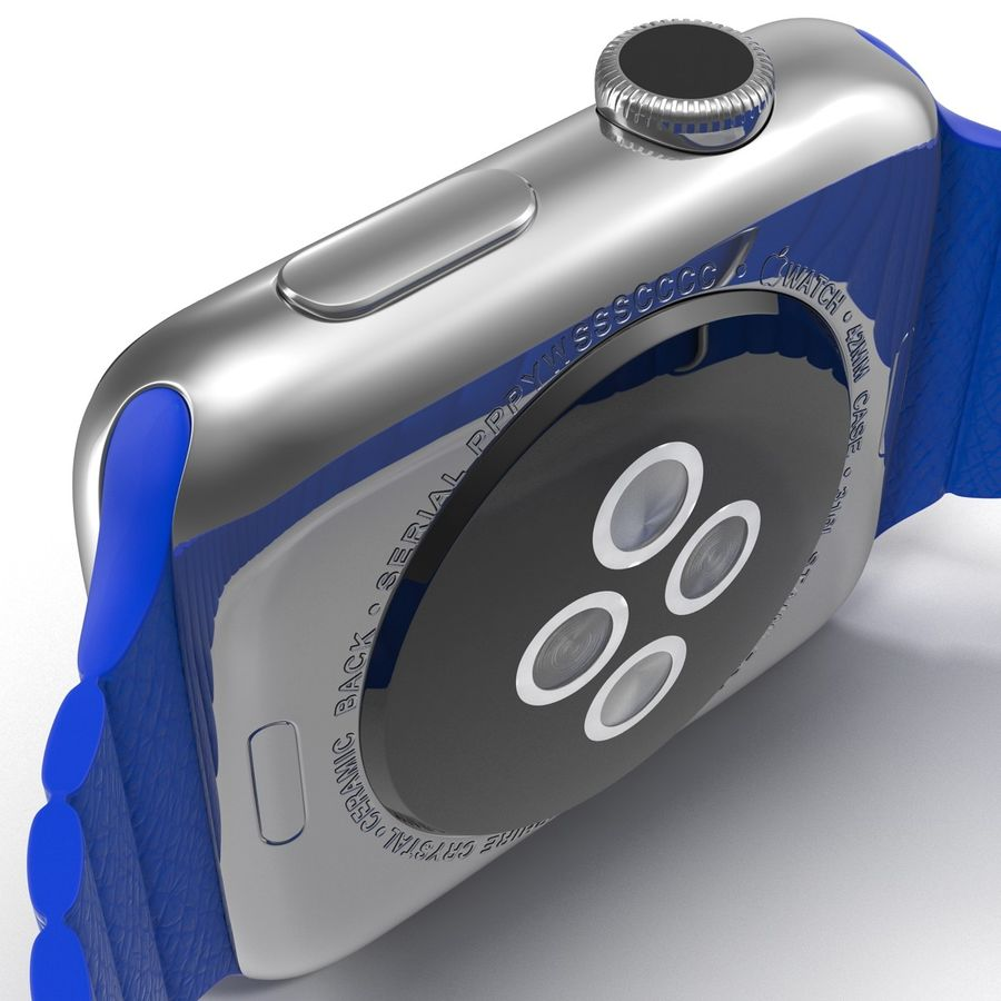 Apple Watch Blue Leather Magnetic Closure 2 3D 모델 royalty-free 3d model - Preview no. 19