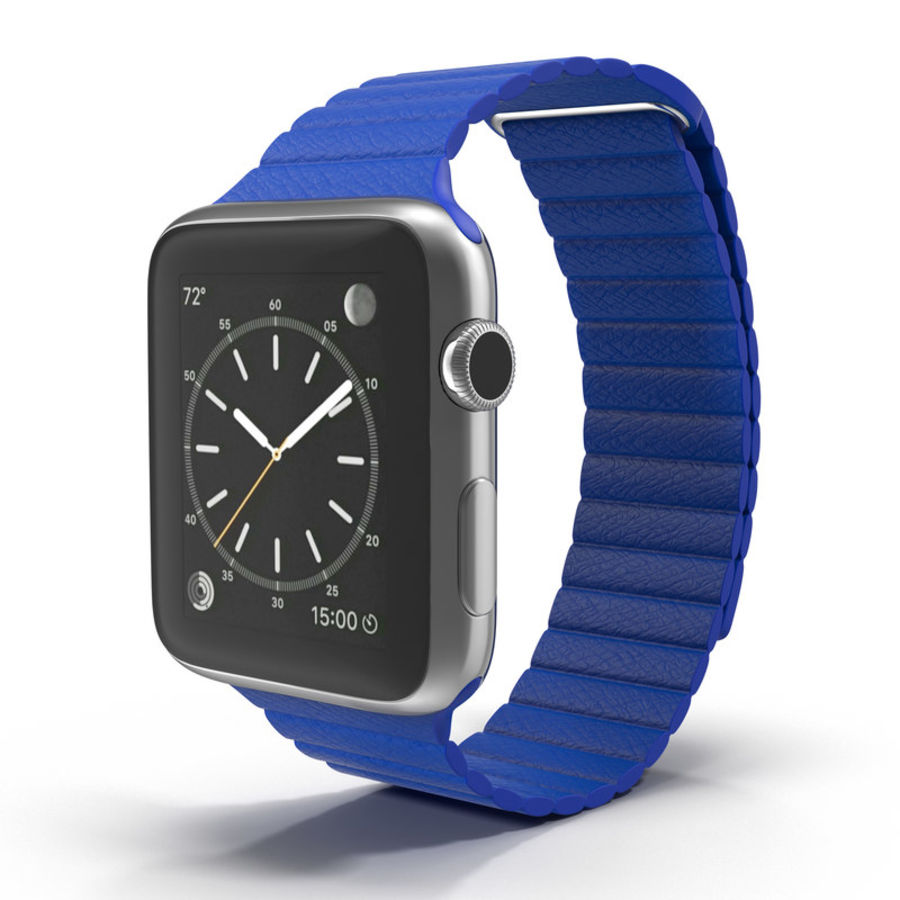 Apple Watch Blue Leather Magnetic Closure 2 3D 모델 royalty-free 3d model - Preview no. 2