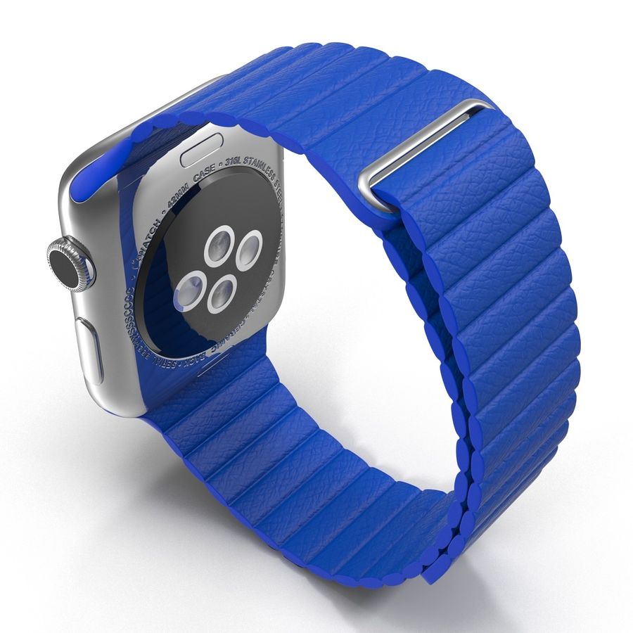 Apple Watch Blue Leather Magnetic Closure 2 3D 모델 royalty-free 3d model - Preview no. 5