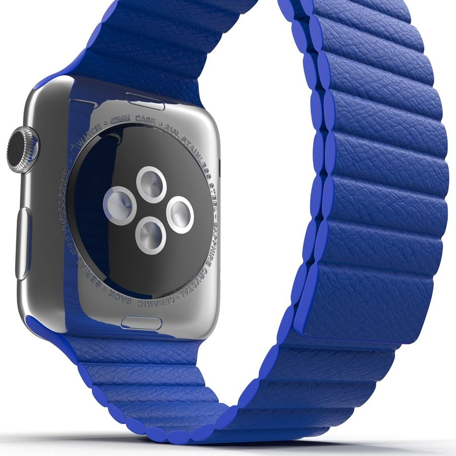 Apple Watch Blue Leather Magnetic Closure 2 3D 모델 royalty-free 3d model - Preview no. 17