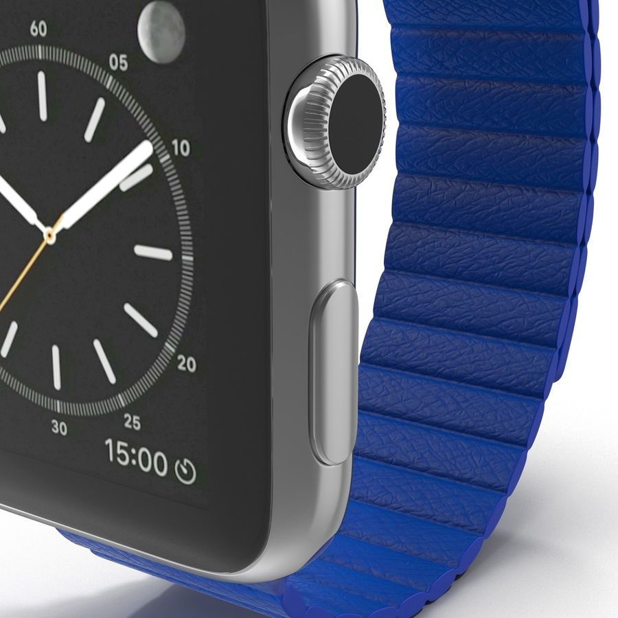 Apple Watch Blue Leather Magnetic Closure 2 3D 모델 royalty-free 3d model - Preview no. 14