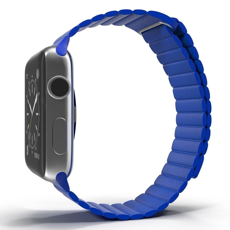 Apple Watch Blue Leather Magnetic Closure 2 3D 모델 royalty-free 3d model - Preview no. 4