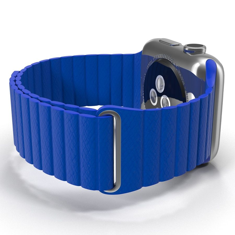 Apple Watch Blue Leather Magnetic Closure 2 3D 모델 royalty-free 3d model - Preview no. 12