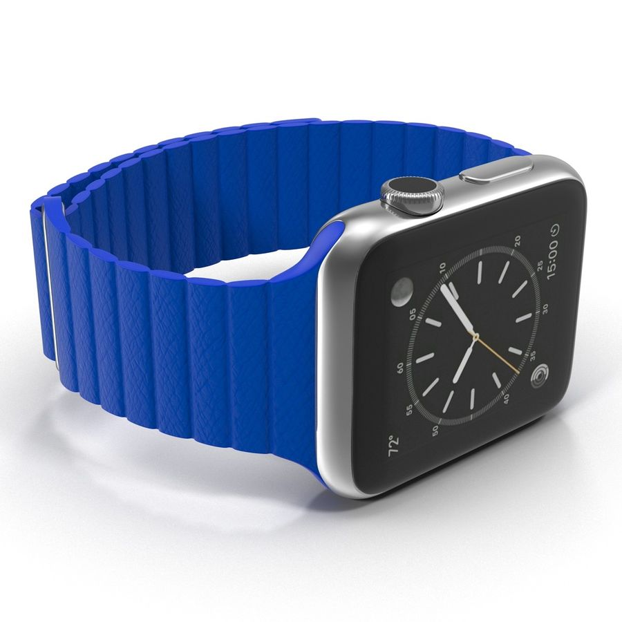 Apple Watch Blue Leather Magnetic Closure 2 3D 모델 royalty-free 3d model - Preview no. 13