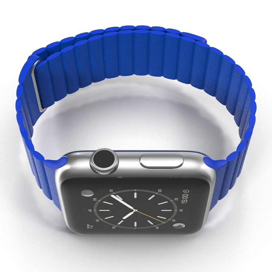 Apple Watch Blue Leather Magnetic Closure 2 3D 모델 royalty-free 3d model - Preview no. 10