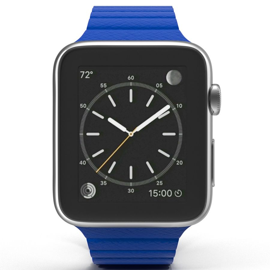 Apple Watch Blue Leather Magnetic Closure 2 3D 모델 royalty-free 3d model - Preview no. 3