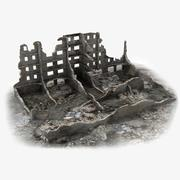 Ruined Building World War 2 01 3d model
