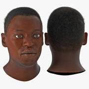 African American Male Head 3D Model with Hair 3d model
