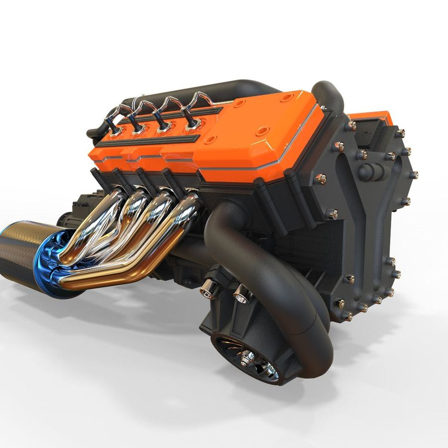 motor do veículo royalty-free 3d model - Preview no. 1
