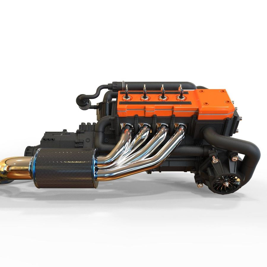 motor do veículo royalty-free 3d model - Preview no. 4