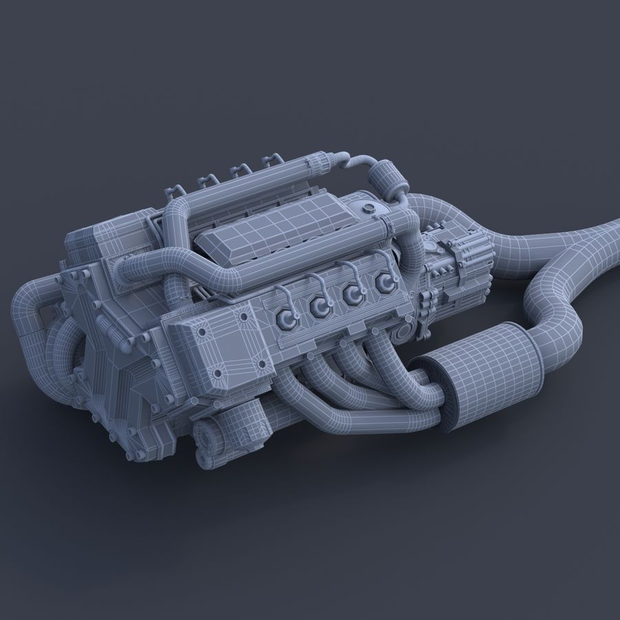motor do veículo royalty-free 3d model - Preview no. 5