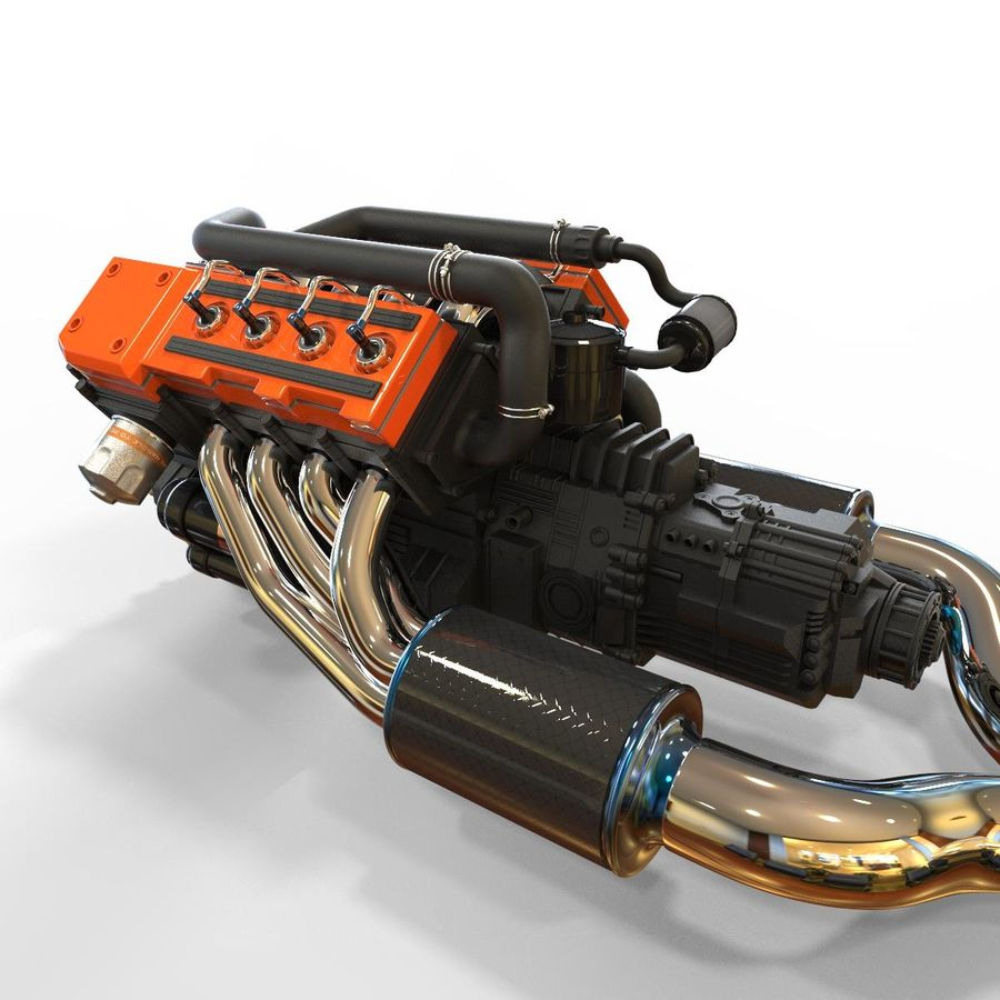 двигатель автомобиля royalty-free 3d model - Preview no. 2