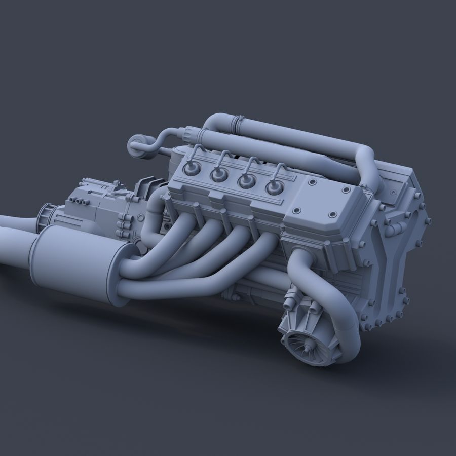 motor do veículo royalty-free 3d model - Preview no. 7