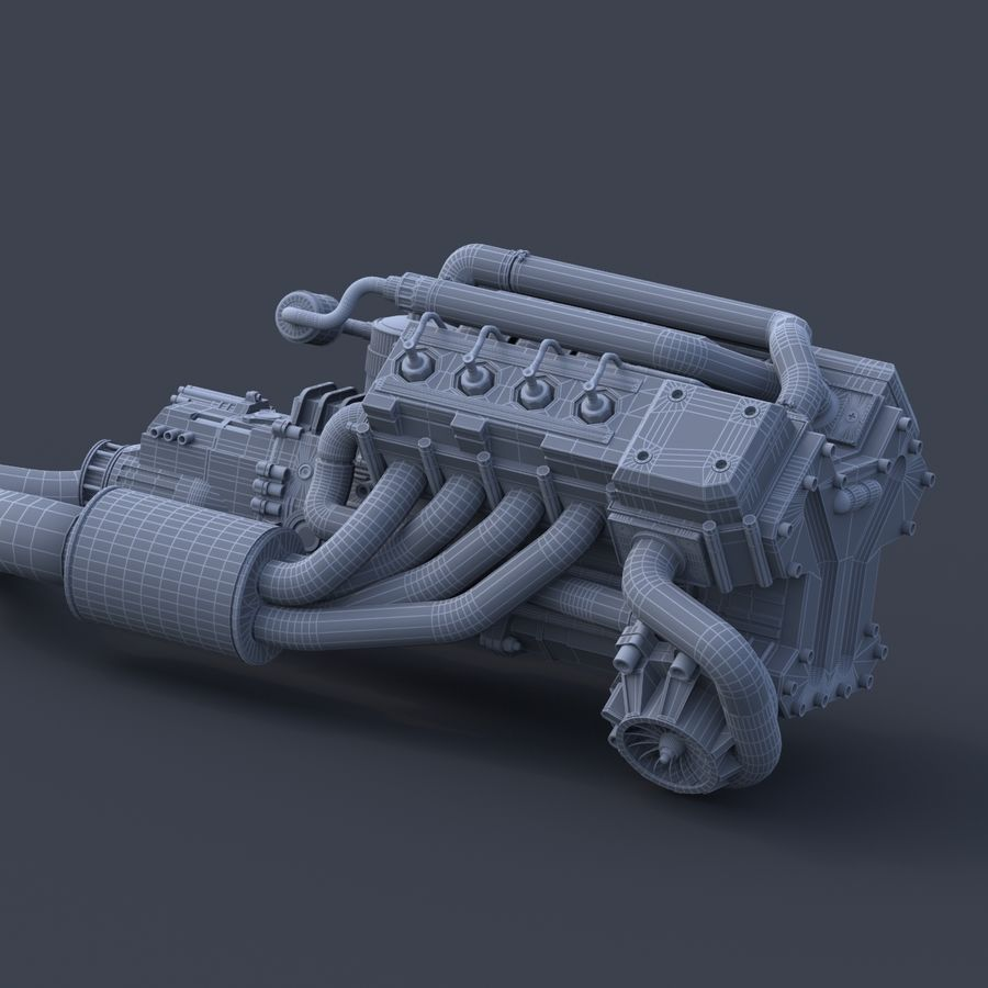 motor do veículo royalty-free 3d model - Preview no. 6