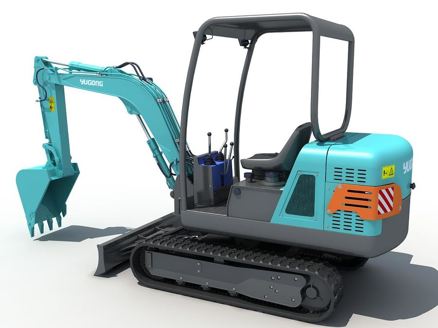 Small Excavator YG22-8 royalty-free 3d model - Preview no. 3