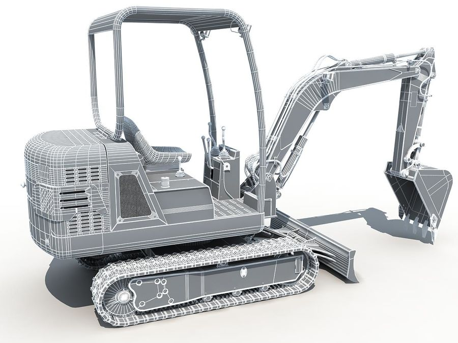 Small Excavator YG22-8 royalty-free 3d model - Preview no. 17