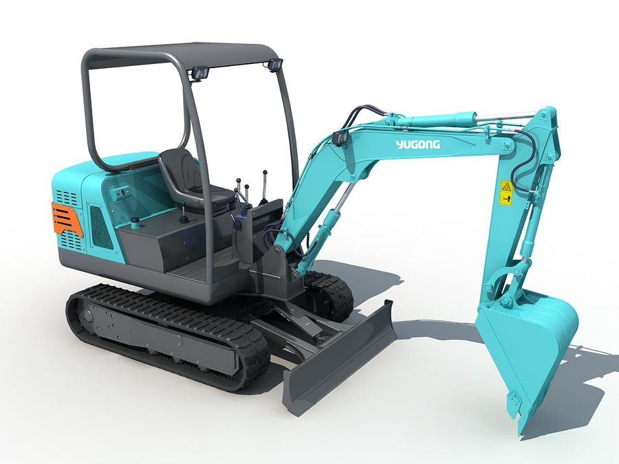 Small Excavator YG22-8 royalty-free 3d model - Preview no. 6