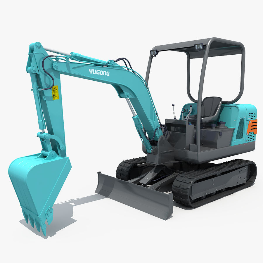 Small Excavator YG22-8 royalty-free 3d model - Preview no. 1