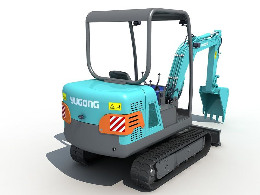 Small Excavator YG22-8 royalty-free 3d model - Preview no. 5