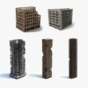 손상된 건물 세트 3d model
