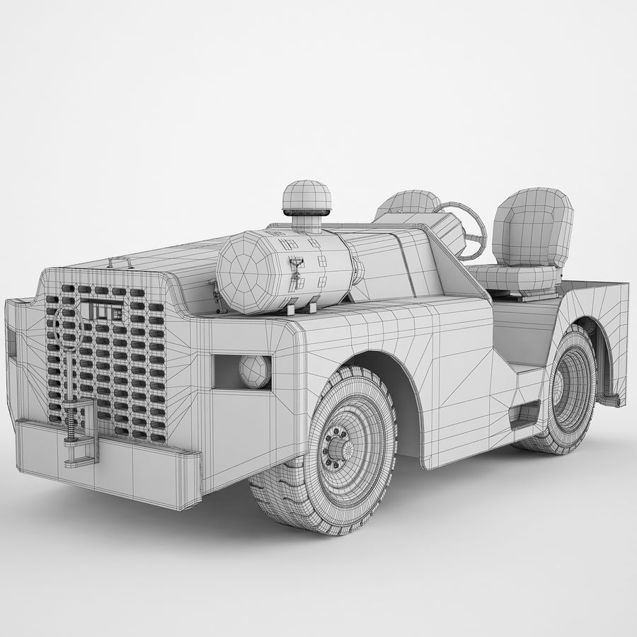 航空機牽引トラクター04 royalty-free 3d model - Preview no. 4