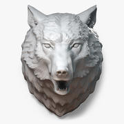 Wolf Head Sculpture Angry 3d model