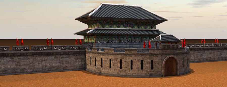 Asia Castle wall royalty-free 3d model - Preview no. 4