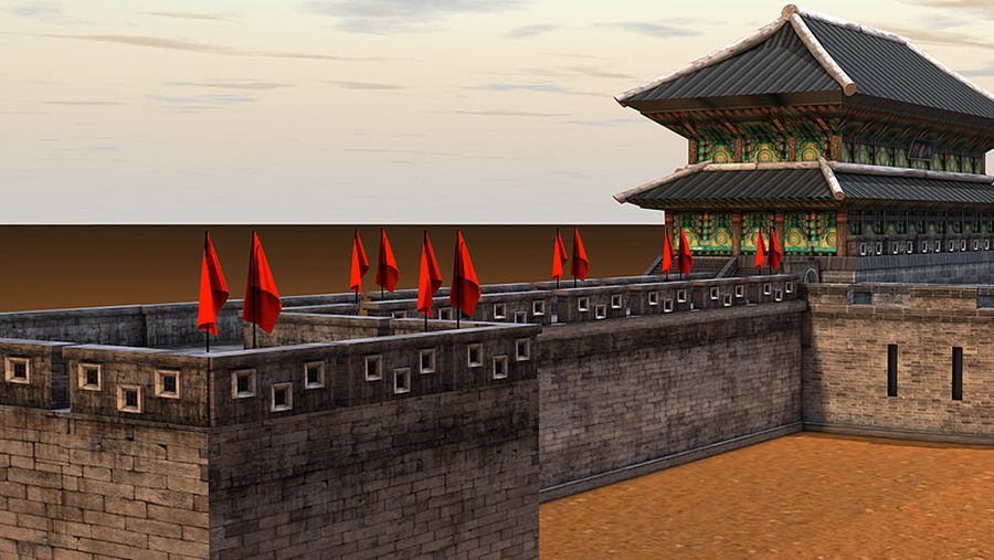Asia Castle wall royalty-free 3d model - Preview no. 6