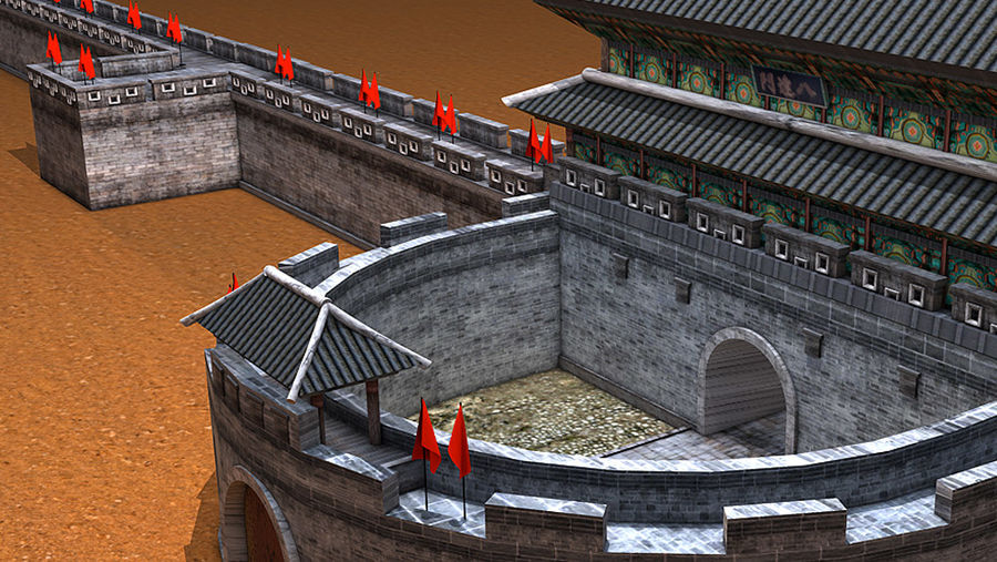 Asia Castle wall royalty-free 3d model - Preview no. 8