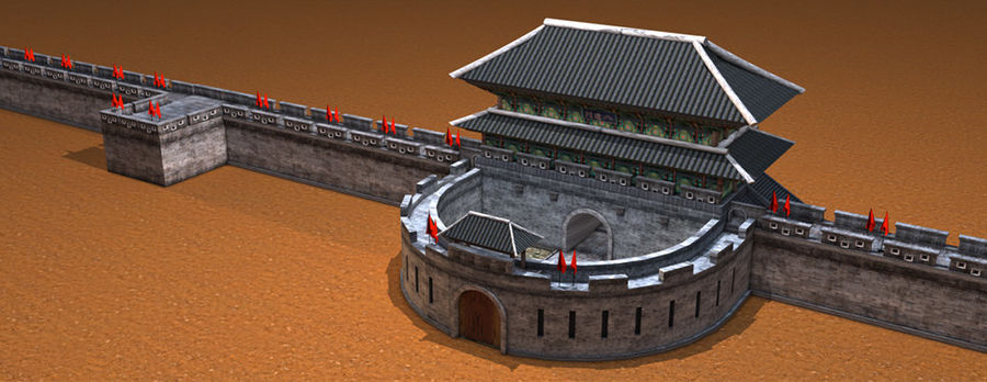 Asia Castle wall royalty-free 3d model - Preview no. 2