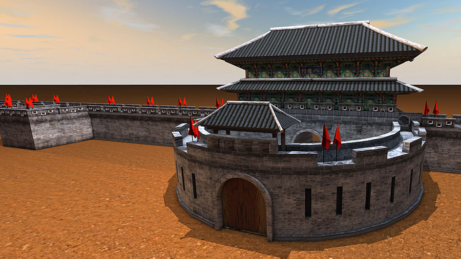 Asia Castle wall royalty-free 3d model - Preview no. 1