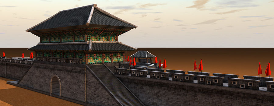 Asia Castle wall royalty-free 3d model - Preview no. 5